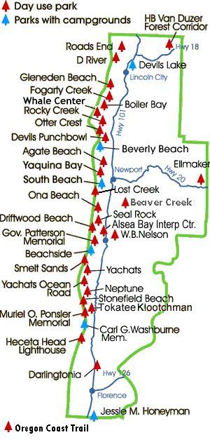 Oregon Parks along the Oregon Coast Trail - details which have campfrounds