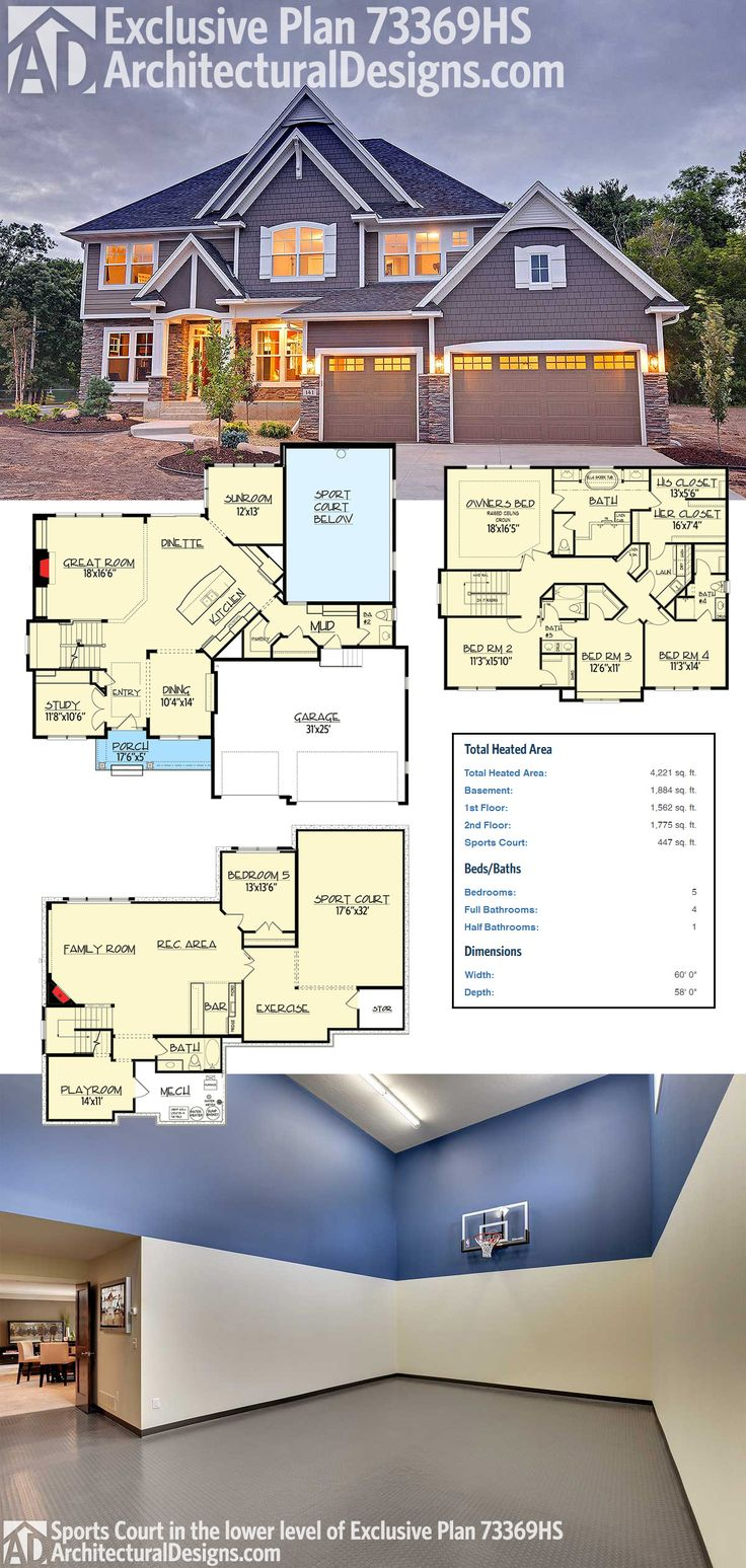 Architectural Designs Exclusive House Plan 73369HS not only gives you a stunning exterior and 5 bedrooms inside, BUT ALSO your very own sport court in the finished lower level!  Ready when you are. Where do YOU want to build?  Specs-at-a-glance   5 beds   4.5 baths   4,200+ square feet including the 447 sq. ft. sport court