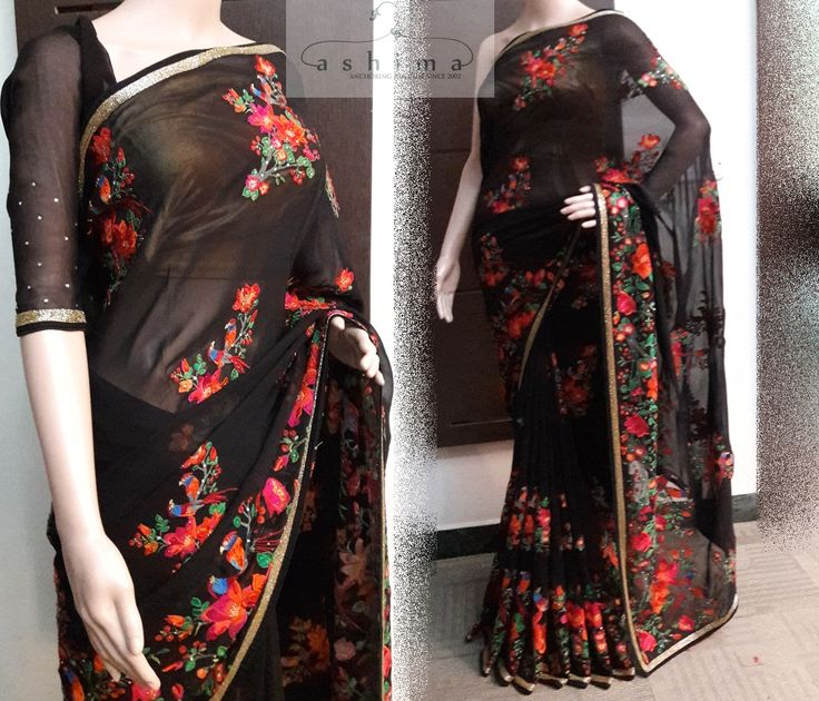 Code:3008170 - Price INR:13900/- , Pure Georgette Saree With Embroiderey.