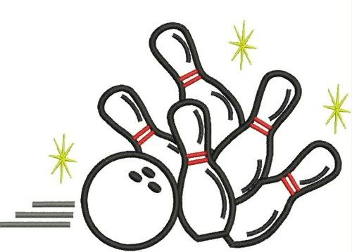 Bowling Pins and Ball Digitized Embroidery Design