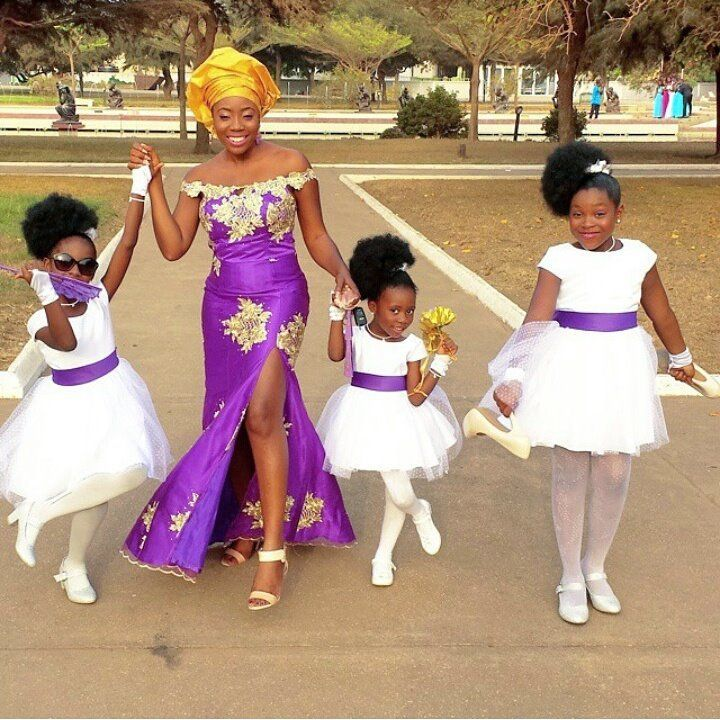 Bride And Flower Girls Purple Nigerian Wedding African Traditional Wedding Dress African Wedding