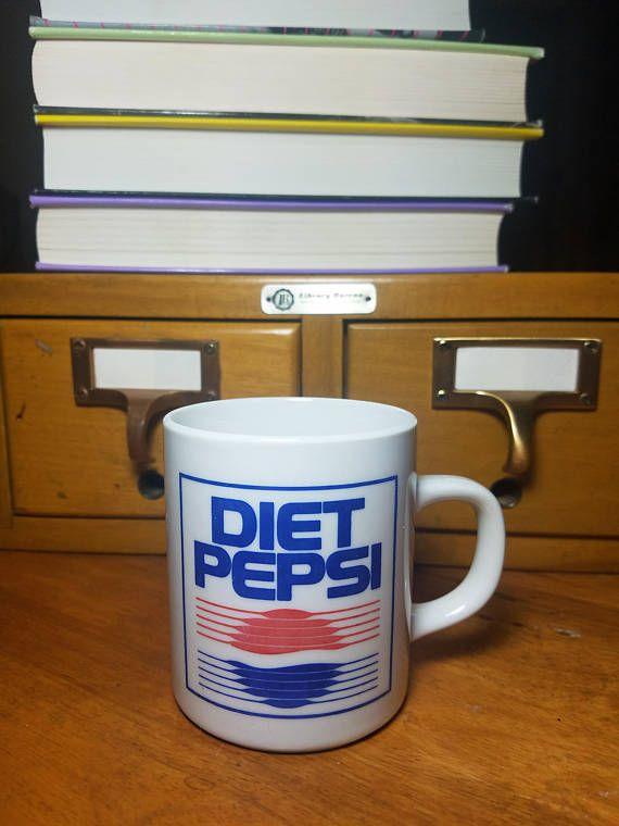 Vintage Diet Pepsi Logo Coffee Mug - 1980s - Ceramic Pop Culture - Pepsico by AnEarnestOffering