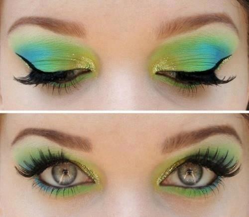 green and yellow eye makeup