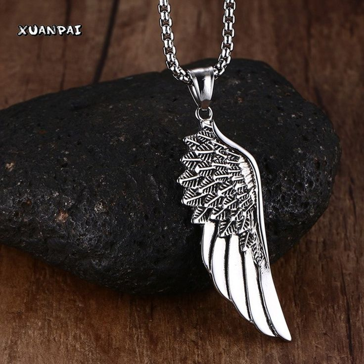 """Men Choker Necklaces Stainless Steel Vintage Gothic Feather Angel Wing Pendants Necklace Silver Tone Kettingen Kolye Jewelry 24"""""""