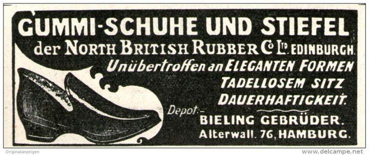 Original-Werbung/ Anzeige 1905 - GUMMI-SCHUHE / STIEFEL/ NORD BRITISH RUBBER EDINBURGH /BIELER HAMBURG - ca. 80 x 35 mm