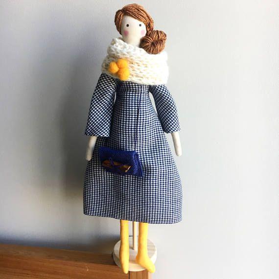 Wool Dress Ragdoll  Ginger Hair Tilda Doll  READY TO SHIP