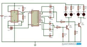 Police Lights Circuit using 555 Timer and 4017 Decade ...