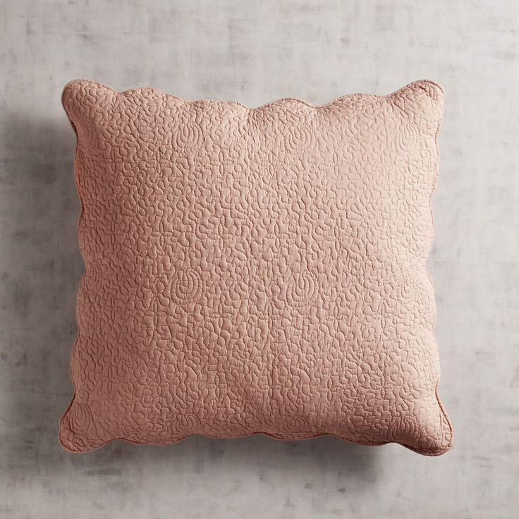 Clare Scallop Cameo Rose Euro Pillow Sham Pink