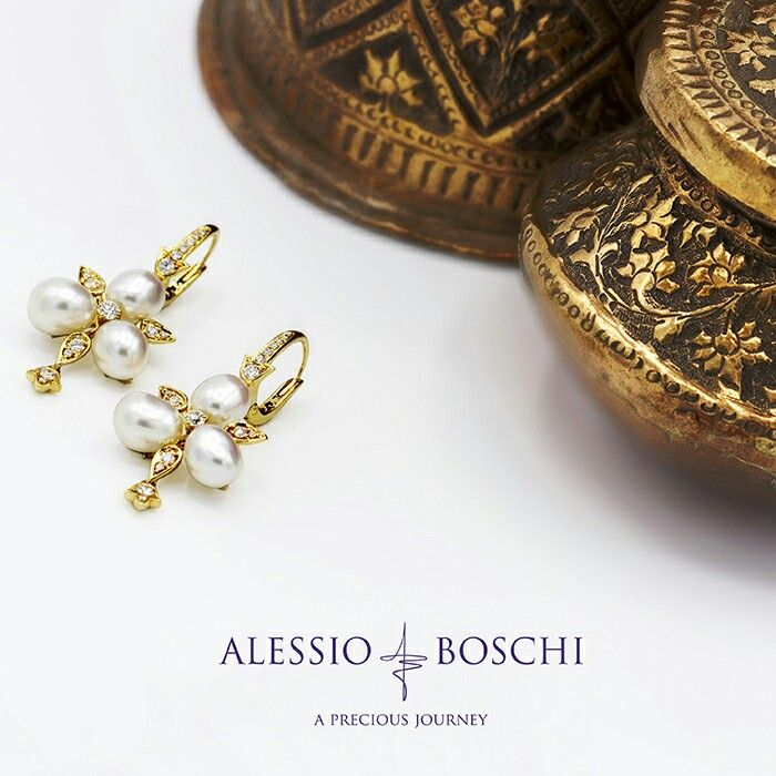 From Mughal Perfumes Collection Earrings in White Diamonds and White Keshi South Sea Pearls inspired by the frescoes of Jaipur City Palace.