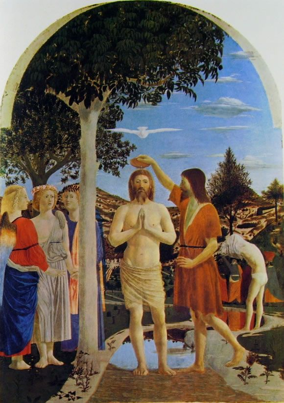 Piero della Francesca: Il battesimo di Cristo
