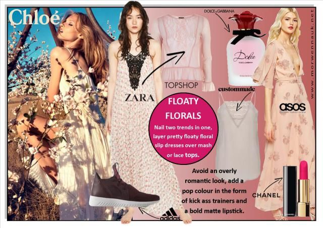 http://www.morwennauk.net/floaty-florals/ Floaty Florals Nail two trends in one this summer and layer pretty floaty floral slip dresses and vest tops over mash or lace tops for those who don't want to show too much skin.  Muted shades, rather than classic pastels floral prints give a more edgy feel and to avoid an overly romantic look, add a pop colour in the form of kick ass trainers and a bold matte lipstick. Complete the look with Dolce and Gabbanas Rosa excels Eau de Parfum which eludes…