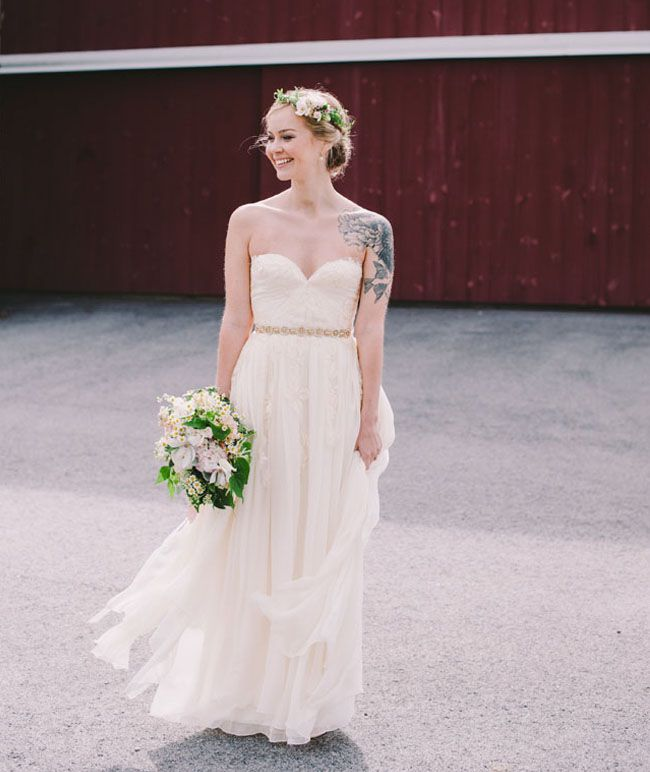 super cute flower crown + Sarah Seven dress