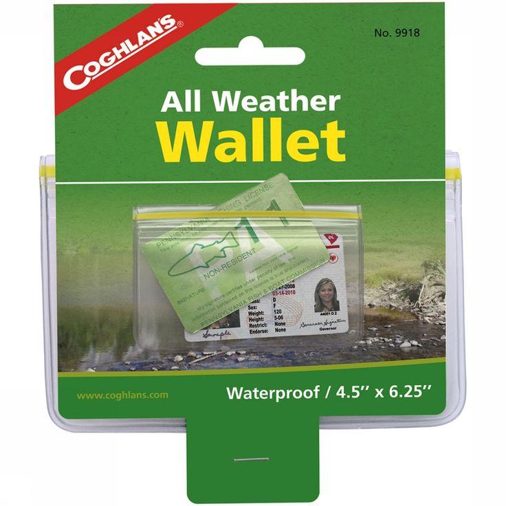 De All-Weather Wallet van Coghlan's is een ideaal portemonneetje voor op reis. Doordat de portemonnee waterdicht is kun je onbezorgd gaan kanoën, vissen zonder dat je biljetten of belangrijke papieren nat worden. Omdat hij zo handzaam is, ishij makkelijk veilig bij de hand te houden.