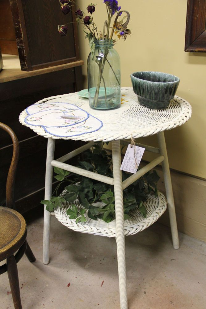 Antique White Wicker Side Table Shabby Wood Plant Shelf Furniture
