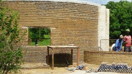 """This """"bottle brick"""" technology started nine years ago in India, South and Central America, providing a cost-effective, environmentally-friendly alternative to conventional building bricks."""