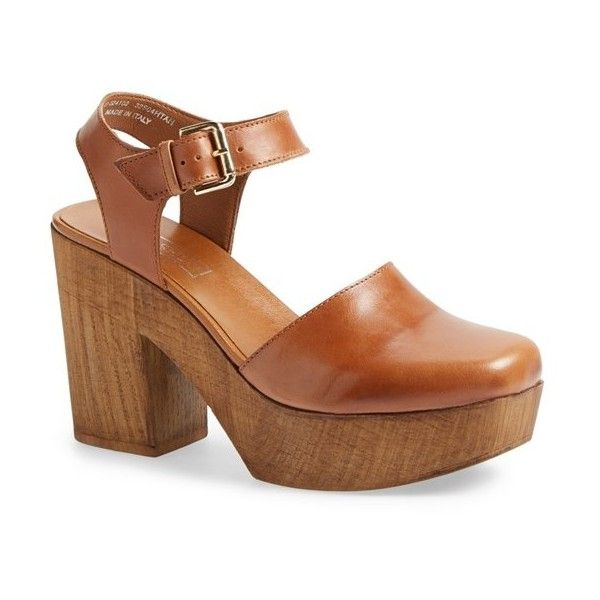 """Topshop 'Smile' Wooden Platform Leather Sandal, 4"""" heel ($90) ❤ liked on Polyvore featuring shoes, sandals, heels, zapatos, tan, high heel shoes, leather sandals, tan heel sandals, ankle strap high heel sandals and leather clogs"""