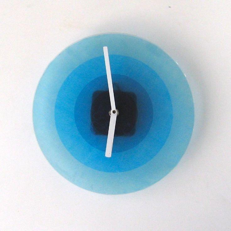 Cool blue retro wall clock