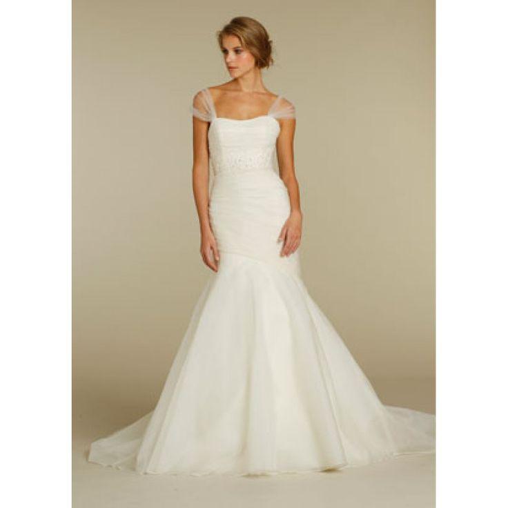 Alvina valenta bridal strapless silk organza fit n flare for Off the shoulder tulle wedding dress