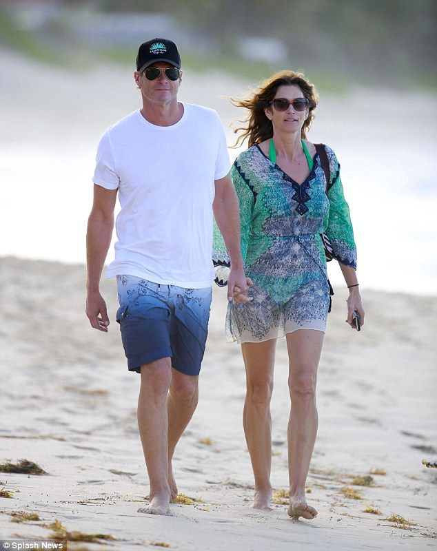 Beauty on the beach: Cindy Crawford celebrated her 50th birthday in St. Barths with husban...