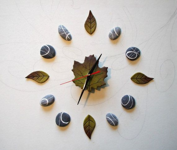 Clock stones and leaves Wall clock nature Wall by Sognoametista