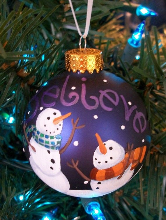 Believe hand painted glass holiday ornament for Glass christmas ornaments to paint
