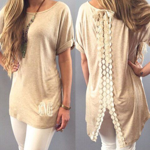 Stylish Short Sleeve Scoop Neck Lace Embellished Women's T-Shirt T-Shirts | RoseGal.com Mobile