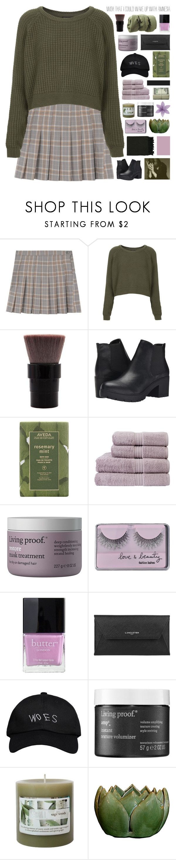 """""""no one understands // hacked"""" by symone-i ❤ liked on Polyvore featuring Topshop, Steve Madden, Aveda, Christy, Living Proof, Forever 21, Butter London, Lancaster, October's Very Own and Surya"""