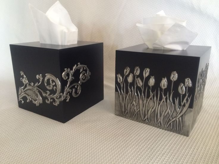 Tissue boxes made at Pewter Me Blue by Belinda. www.facebook.com/pewtermeblue
