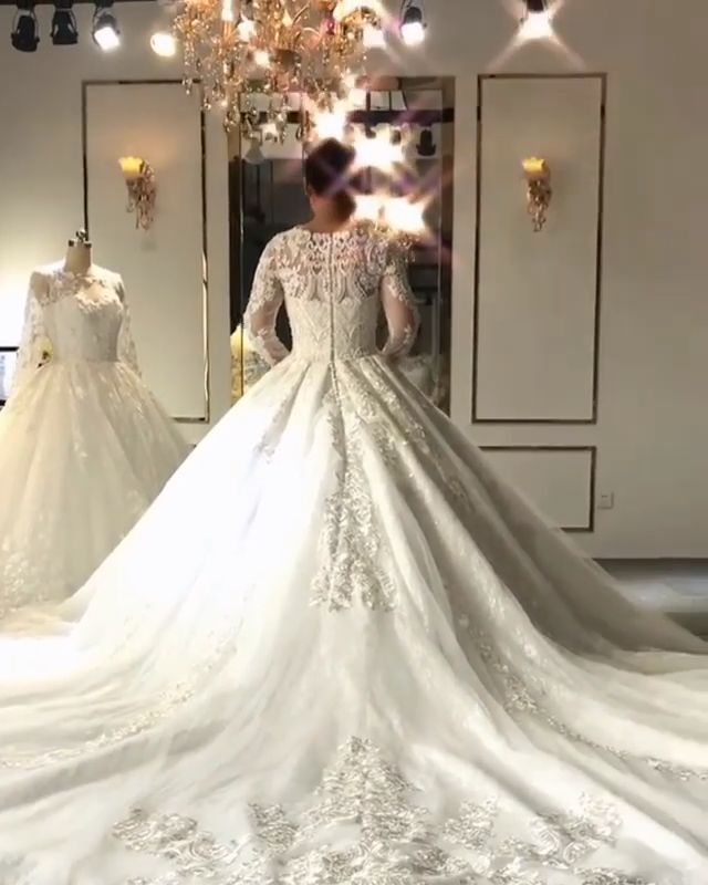 Glamorous Lace Ball Gown Wedding Dresses | 2019 Custom Made Long Sleeve Bridal Gowns