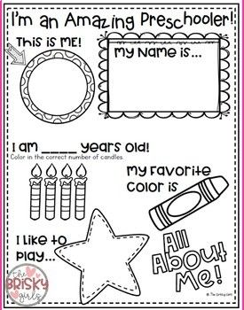 photograph about All About Me Printable Preschool titled Back again towards University All Over Me Pursuits (Initially Working day of University