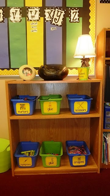 word wall and organize supply bins