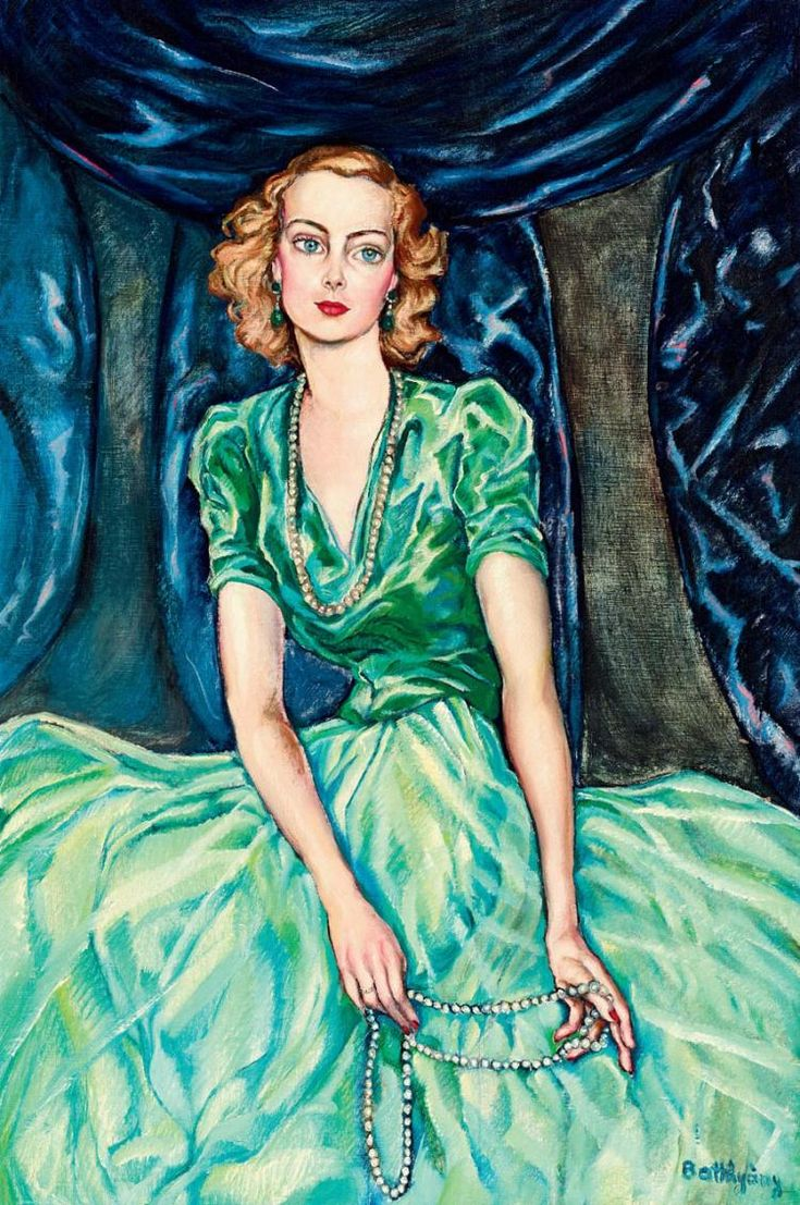 Young Blonde Girl in a Green Silk Dress (Istvánné Horthy, born Ilona Edelsheim Gyulai), 1940's