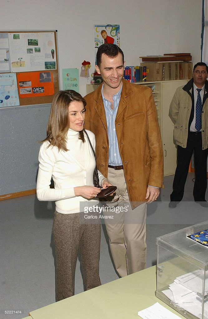 Spanish royalty, Crown Prince Felipe and Princess Letizia vote in the European Constitution referendum at 'Monte de el Pardo' school on February 20, 2005 in El Pardo, Madrid, Spain.