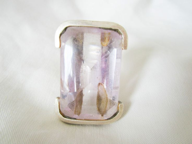 Amethyst Crystal Ring Silver Ladies Bulky Metaphysical  Spiritual Jewelry