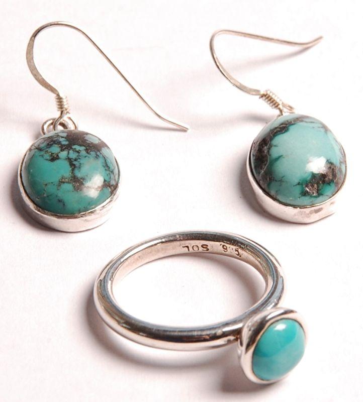 Set oorbellen + ring - India - Turkoois - 925 zilver