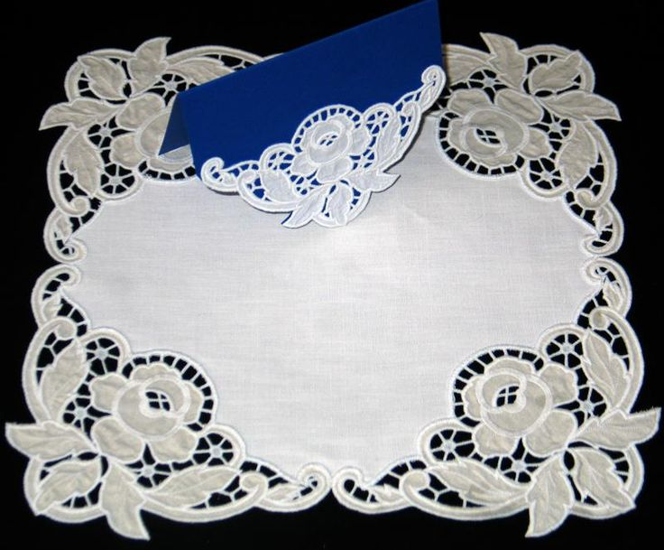 Advanced Embroidery Designs - Cutwork Lace Rose Corner