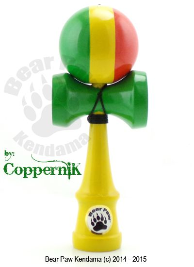 Vertical Rasta Deluxe Kendama By artist CoppernikThe Vertical Rasta Deluxe is hand painted in USA by artist CopperniK. The vertical stripe puts a different twist to the rasta color way.The ken features a deluxe Ultra Gloss clear coat that just looks brilliant in person and feels awesome in hand. The paint is more durable then traditional factory paints and provided excellent feel and performance. It also adds a cool clackety clack sound with the kens paint and clear coat.