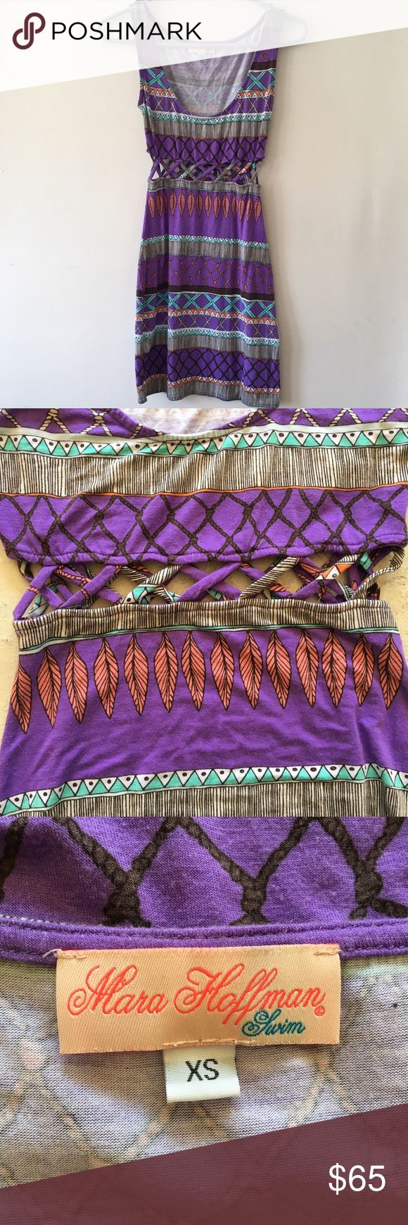 Mara Hoffman Waist Cutout Bodycon Mini Dress NWOT never worn Mara Hoffman mini dress.  Purple, turquoise & orange feather print.  Super soft & lightweight modal/spandex blend.  Lattice cutouts at the waist.  Perfect for summer beach days, music festivals and more!  Love this dress but not quite my color.  Size XS with some stretch that would also fit a small! Mara Hoffman Dresses Mini