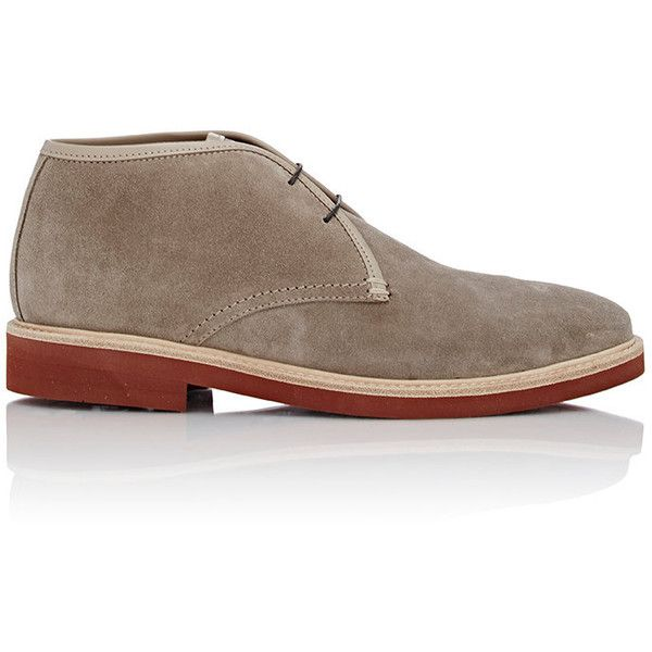 Ermenegildo Zegna Men's Suede Chukka Boots ($595) ❤ liked on Polyvore featuring men's fashion, men's shoes, men's boots, nude, mens lace up shoes, mens suede lace up boots, mens suede shoes, mens chukka shoes and mens suede boots