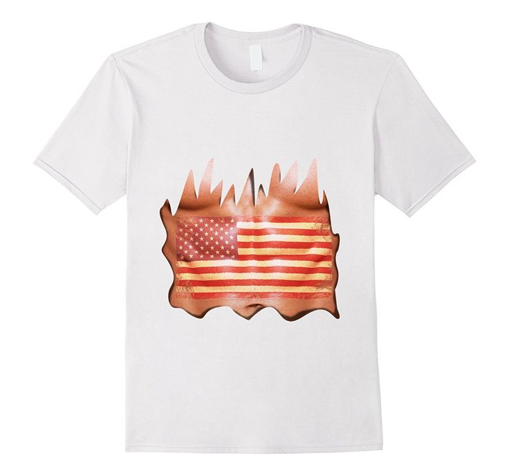 Funny Fake Muscle Six Pack Abs & US Flag | USA ABS T-Shirt
