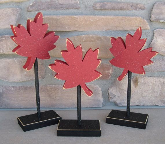 3 Tall Standing MAPLE LEAF Block SET with three red maple leafs for Canada Day decor, Fall decor, shelf, desk, office and home decor on Etsy, $22.95