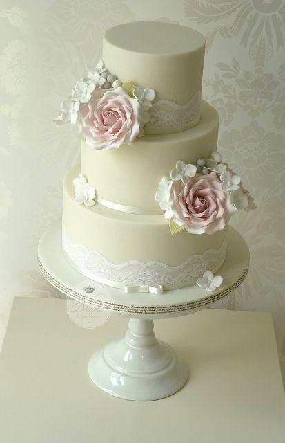 Vintage roses wedding cake   Flickr