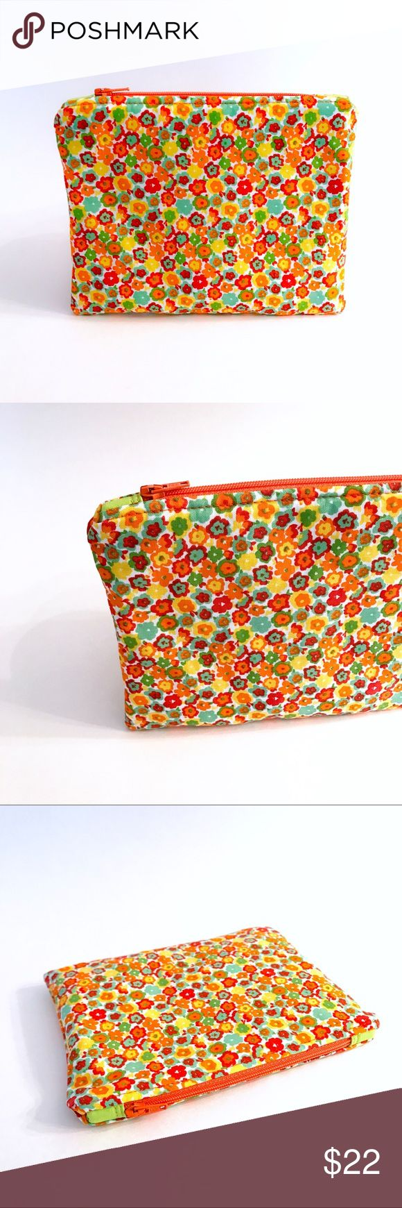 """Padded Zipper Pouch Multi-purposeful! Excellent companion to  your everyday bag or strong enough to be used  on its own.    Organize anything from:  currency & cards, cosmetics, jewelry,  pens & pencils, small electronics,  and much more.  Makes a great gift too!  Cotton/Cotton Zipper Length: 5.5""""  Brand new! Arrives wrapped with tags attached.  *Please excuse any imperfections as this is created by hand with the utmost care and attention to detail. Handmade Bags Cosmetic Bags & Cases"""
