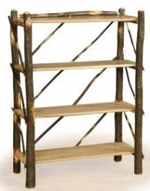 Hickory and solid Oak Bookshelf - Adirondack Country Store
