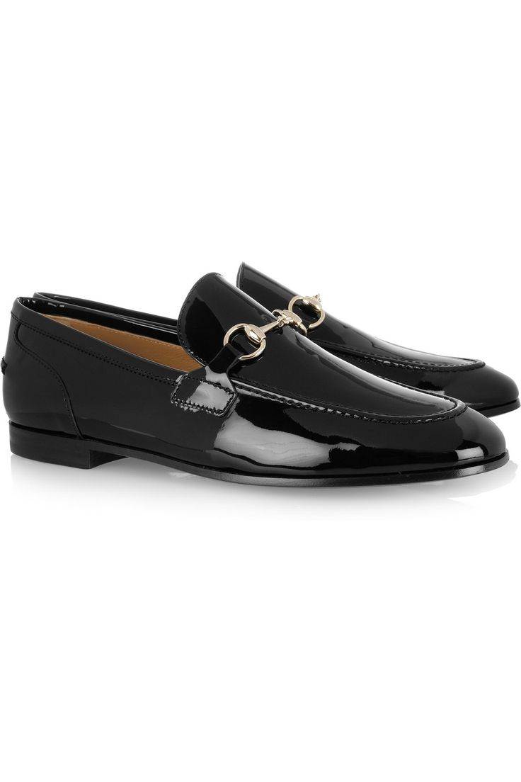 GUCCI  Horsebit-detailed patent-leather loafers for women