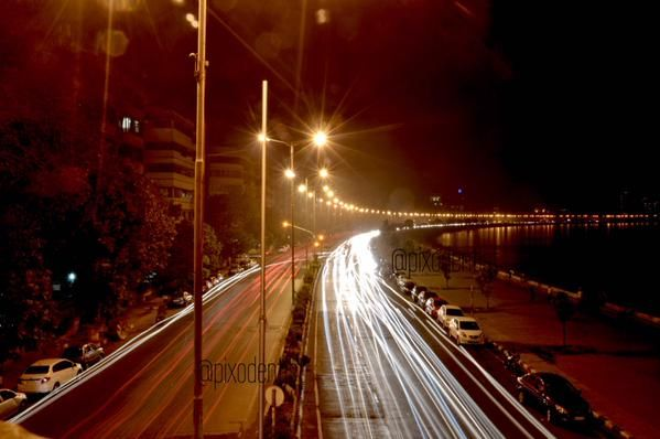 "23.1.15 - From Atul M K - "" #FriFotos Queens Necklace at Marine Drive as the #cars pass by. Mumbai, India. """