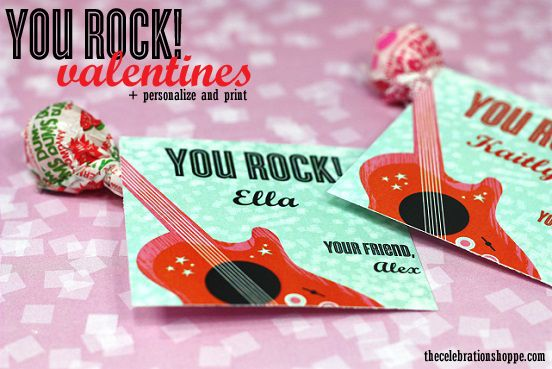 You Rock! Printable Class Valentines by The Celebration Shoppe | Skip To My Lou
