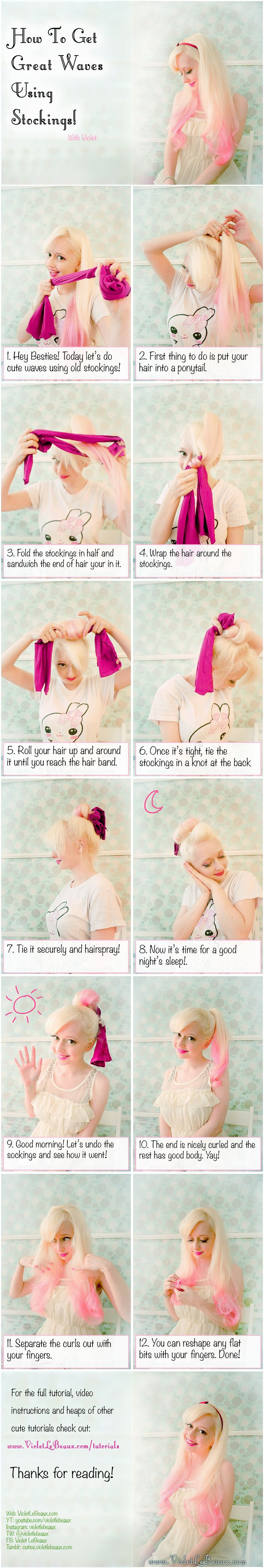 How To Get Waves Using Stockings Hairstyle Tutorial   Violet LeBeaux- Cute Free Craft Tutorials