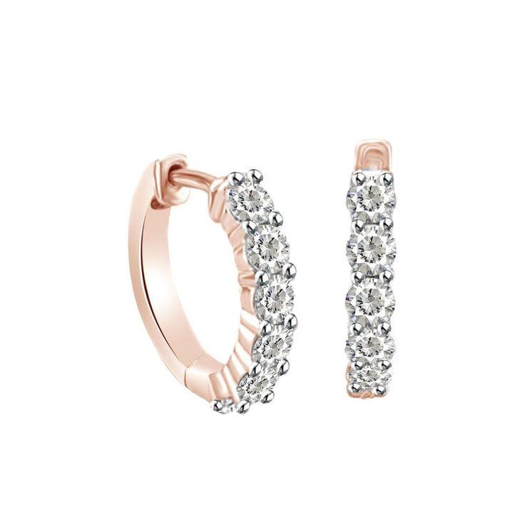 New Prong Setting Genuine Round Cut Diamond Rose Gold Hoops Huggie Earrings #Gemdepot #Hoop #Christmas
