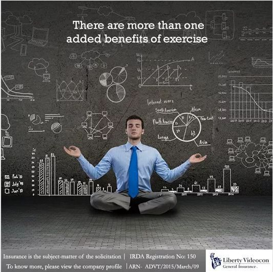 An added benefit of exercising everyday is reduced stress. This results in having increased energy and focus to complete your everyday work.  #employeeinsuranceplans #libertyvideocon